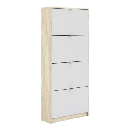 Shoes Shoe cabinet w. 4 tilting doors and 2 layers in Oak structure White